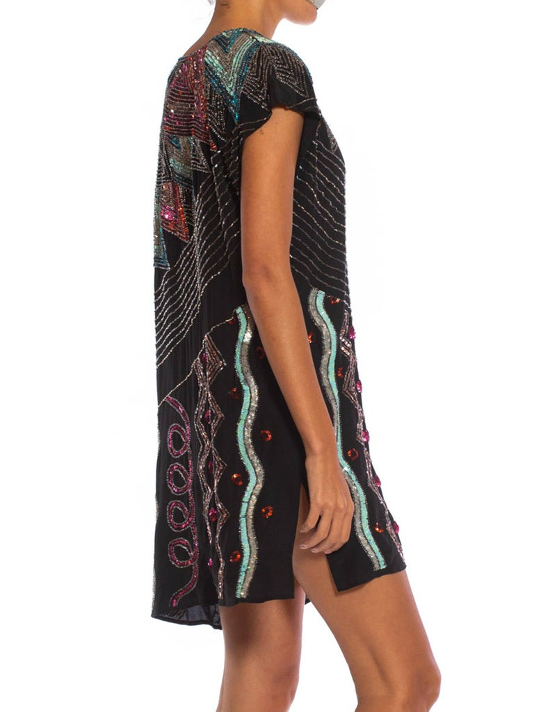 1980S Black Silk Crepe De Chine Beaded Squiggle Abstract Art Cocktail Dress