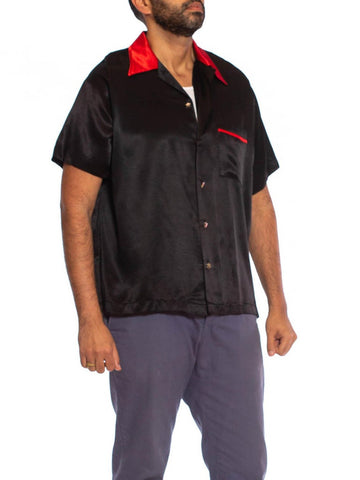 "1990S Black & Red Rayon Satin ""Pimp Daddy"" Rockabilly Men's Shirt With Dice Buttons"