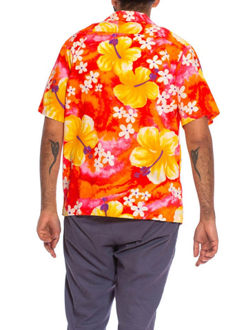 1960S Orange, Yellow & Pink Hawaiian Cotton Men's Shirt