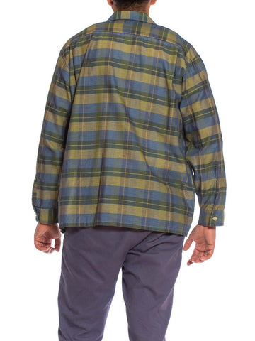 1950S Blue & Green Cotton Rare XL Men's Long Sleeve Plaid Shirt