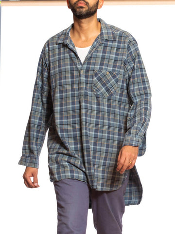 1970S Blue & Grey Cotton Plaid Victorian Style Men's Pullover Shirt From France