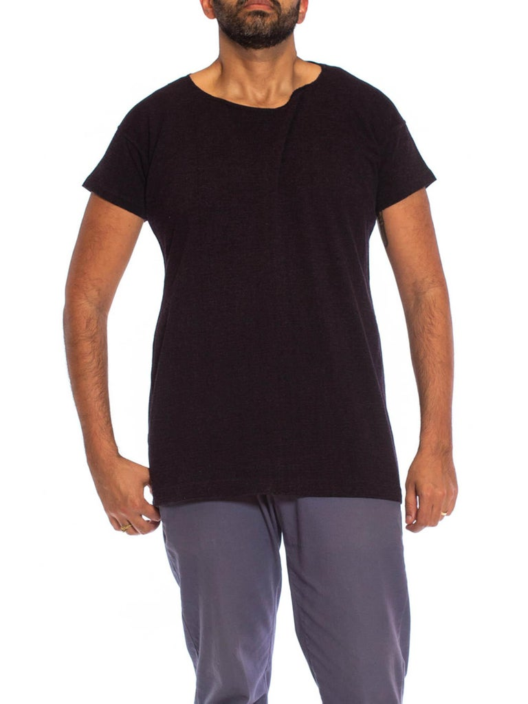 1920S Navy Blue Wool Antique Swimming T-Shirt