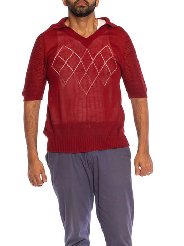 1960S Burgundy Acrylic Knit Sheer Pull Over Polo Shirt