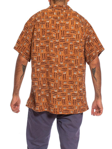 1990S Cigar Brown Linen Blend Men's Cigars & Lighters Print Shirt