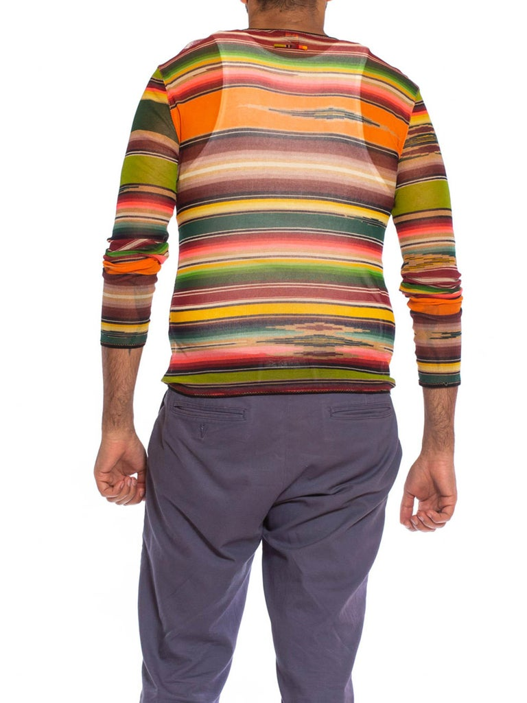 1990S JEAN PAUL GAULTIER Multicolor Serape Stripe Poly Blend Mesh Shirt