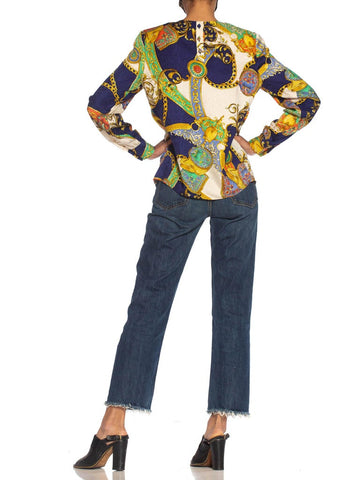 1980S Multicolor Status Print Silk On Paisley Jacquard Blouse