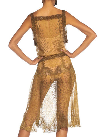 1920S Gold Silk Lace Flapper Cocktail Dress With Tasseled Belt