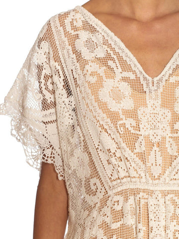 White Cotton Handmade Edwardian Lace Kaftan