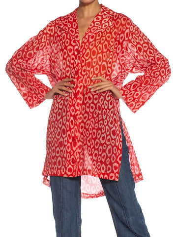 1980S Patrick Kelly Red Leopard Print Cotton Oversized Blouse