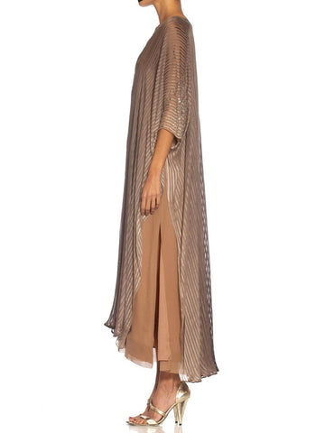 1970S Halston Ombré Silk Chiffon Stripe Kaftan Dress With Crystal Embellishments