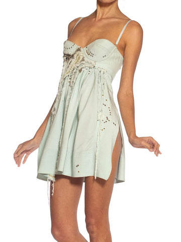 2000S Paco Rabanne Seafoam Green Silk Crepe Back Satin Metal Embellished & Pierced Mini Cocktail Dress