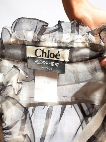 2000S Chloé Black & White Silk Organza Ruffled Sleeveless Top