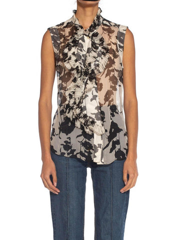 2000S Black & White Floral Silk Chiffon Ruffled Sleeveless Top