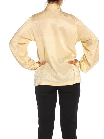 1980S Cream Polyester Jacquard Draped Blouse