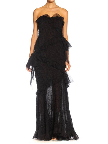 1980S Yves Saint Laurent Black Silk Textured Organza Strapless Gown With Chiffon Ruffles