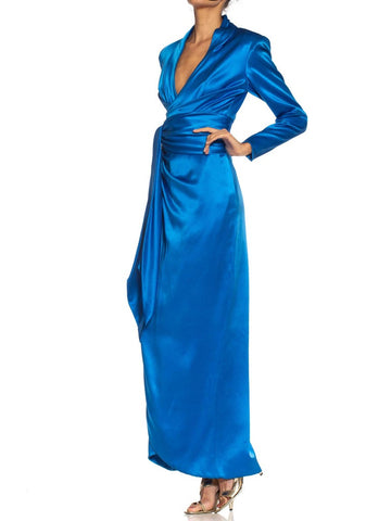 1980S Givenchy Electric Blue Haute Couture Silk Double Faced Satin Sleeved Gown With Slit & Sash