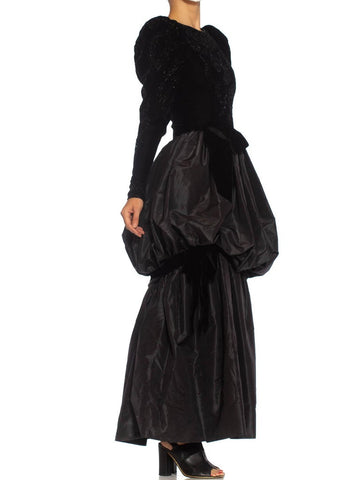 1980S Givenchy Black Haute Couture Silk Moiré Taffeta & Beaded Velvet Gown