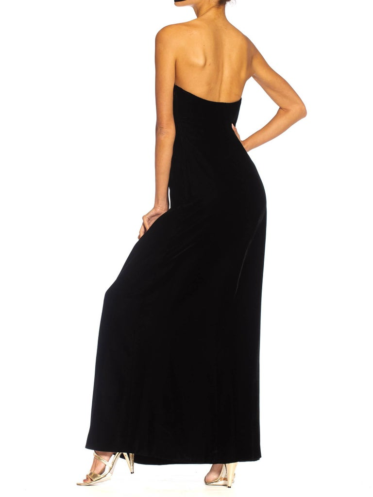 1980S Yves Saint Laurent Black Haute Couture Silk Velvet Strapless Gown