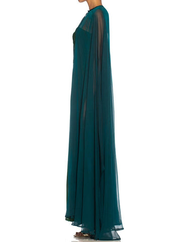 1980S Yves Saint Laurent Blue & Green Haute Couture Silk Chiffon Strapless Gown Cape