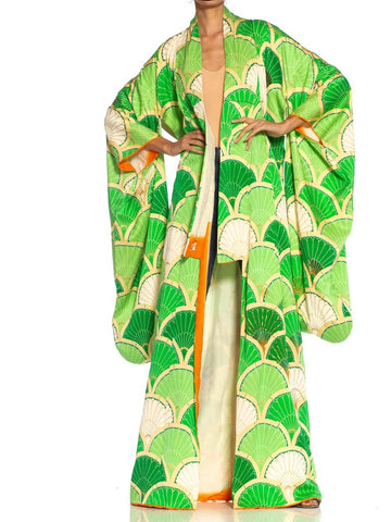 1970S Lime Green & Cream Silk Kimono With Gold Metallic Embroidery