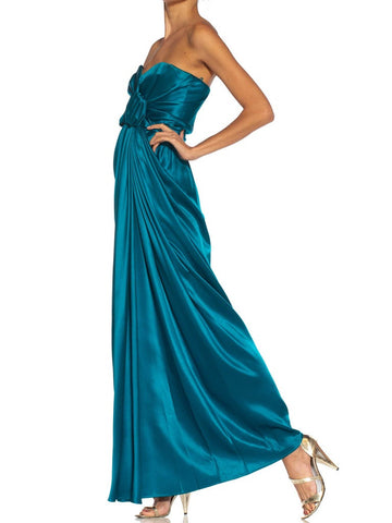 1980S Yves Saint Laurent Teal Haute Couture Silk Satin Draped Strpless Gown