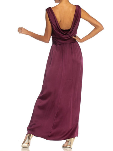 1980S Yves Saint Laurent Merlot Haute Couture Silk Satin Draped Gown With Sash Belt