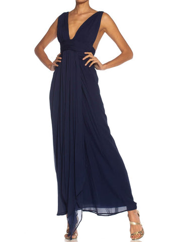 1980S Givenchy Navy Blue Haute Couture Silk Chiffon Low Cut Gown 1989