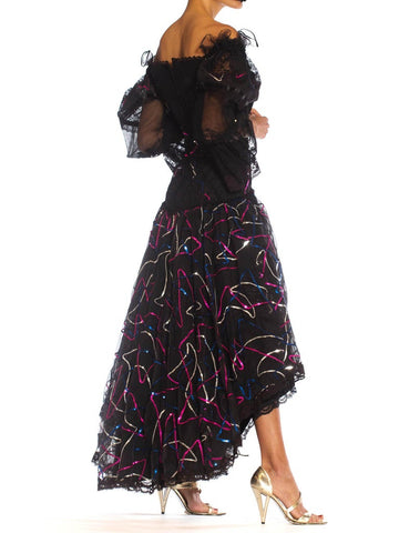 1980S Pat Kerr London Black Lace & Sequined Silk Organza High-Low Gown