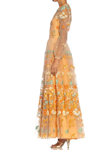 1970S Chanel Peach Haute Couture Floral Embroidered Organza Gown