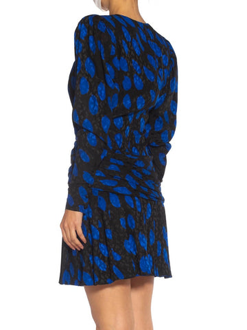 1980S Givenchy Black & Blue Haute Couture Silk Jacquard Draped Cocktail Dress With Sleeves
