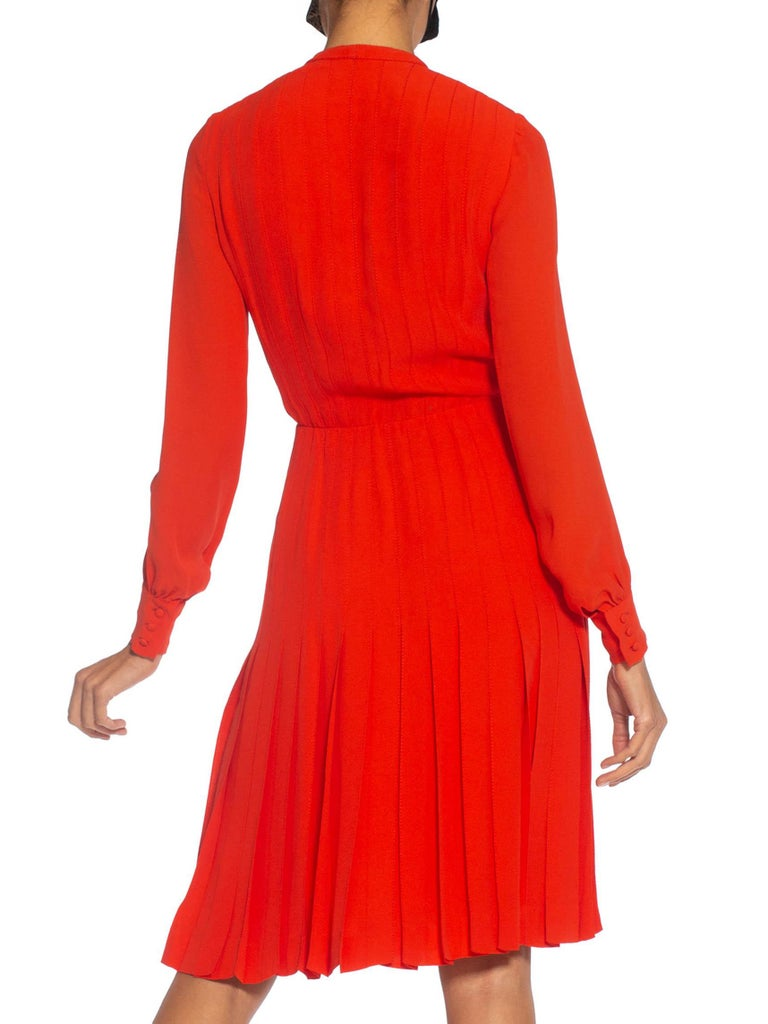 1980S Chanel Persimmon Haute Couture Silk Crepe Bow Neck Dress With Sleeves