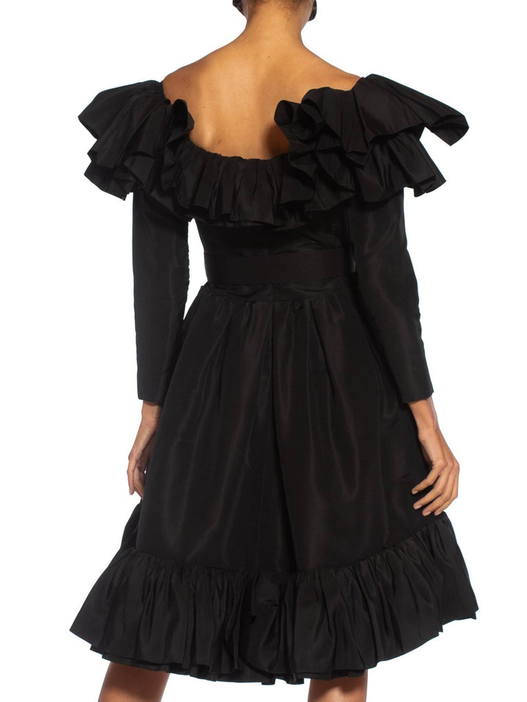 1980S Yves Saint Laurent Black Haute Couture Silk Taffeta Ruffled Cocktail Dress With Belt
