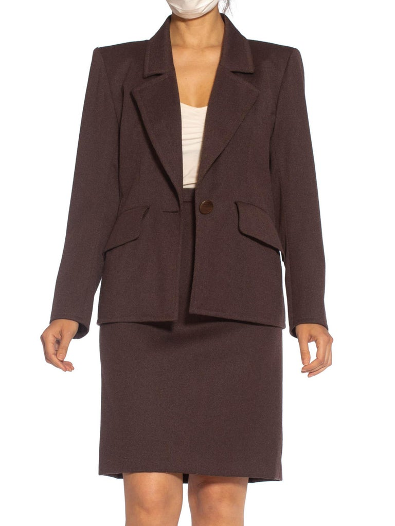 1980S Yves Saint Laurent Brown Haute Couture Wool Skirt Suit