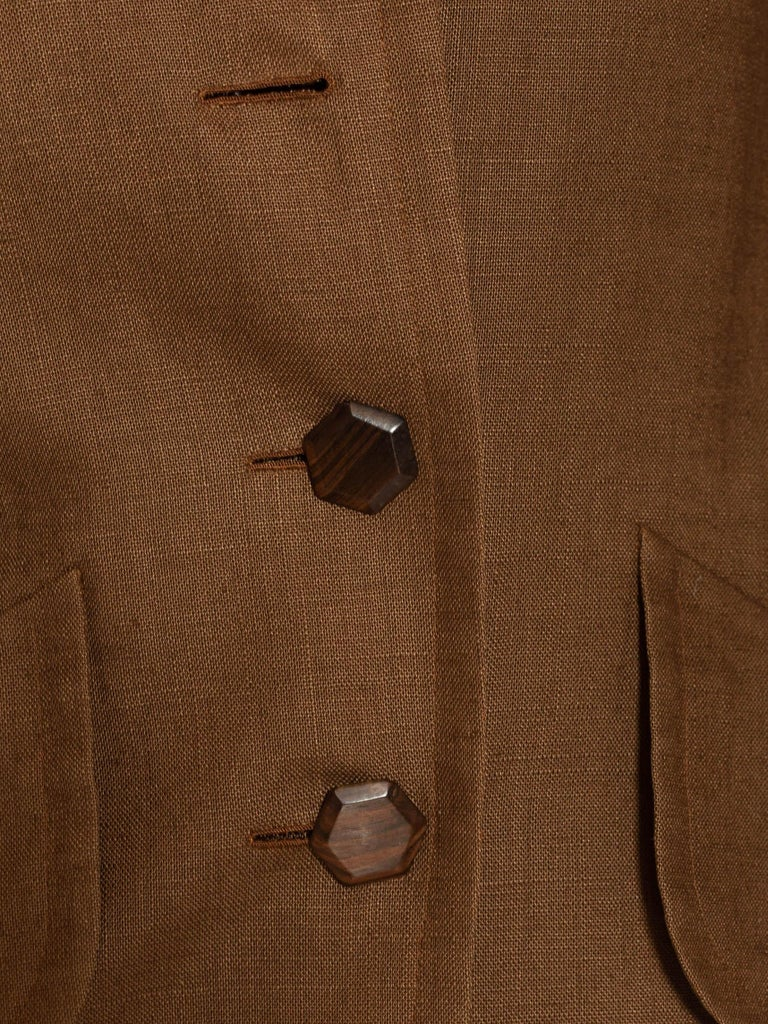1990S Yves Saint Laurent Brown Haute Couture Linen 3/4 Length Jacket With Wood Buttons