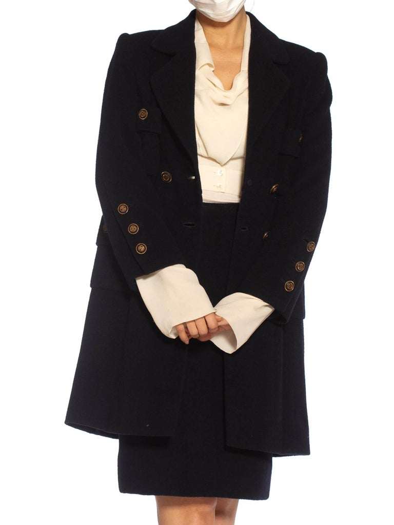 1980S Chanel Navy Blue Haute Couture Cashmere Blend Boiled Wool 3/4 Length Coat & Pencil Skirt Suit