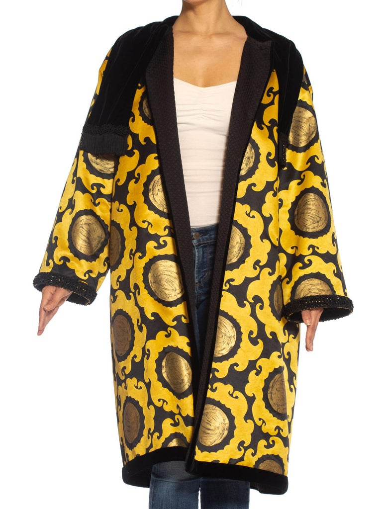 1990S Emanuel Ungaro Gold & Black Silk Satin 1992 Golden Sun Coat With Quilted Lining