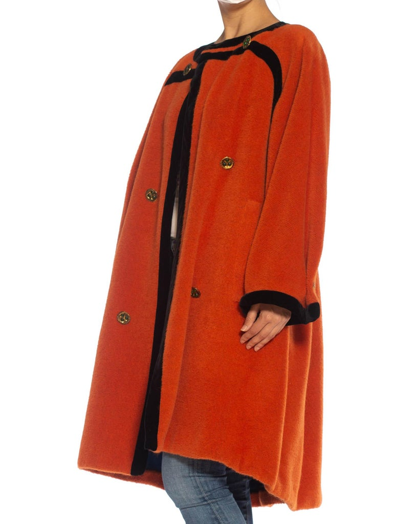 1980S Emanuel Ungaro Orange Haute Couture Mohair Wool Coat Lined In Electric Blue