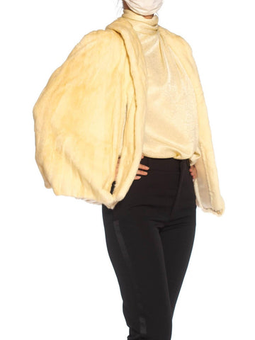 1940S Cream Ermine Fur Evening Cape