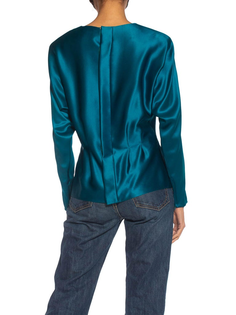 1980S Yves Saint Laurent Teal Haute Couture Silk Double Faced Satin Blouse