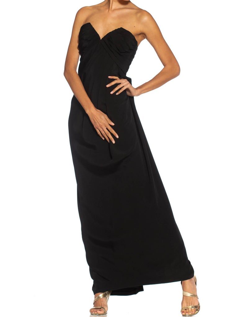 1980S Givenchy Black Haute Couture Silk Crepe Strapless Gown