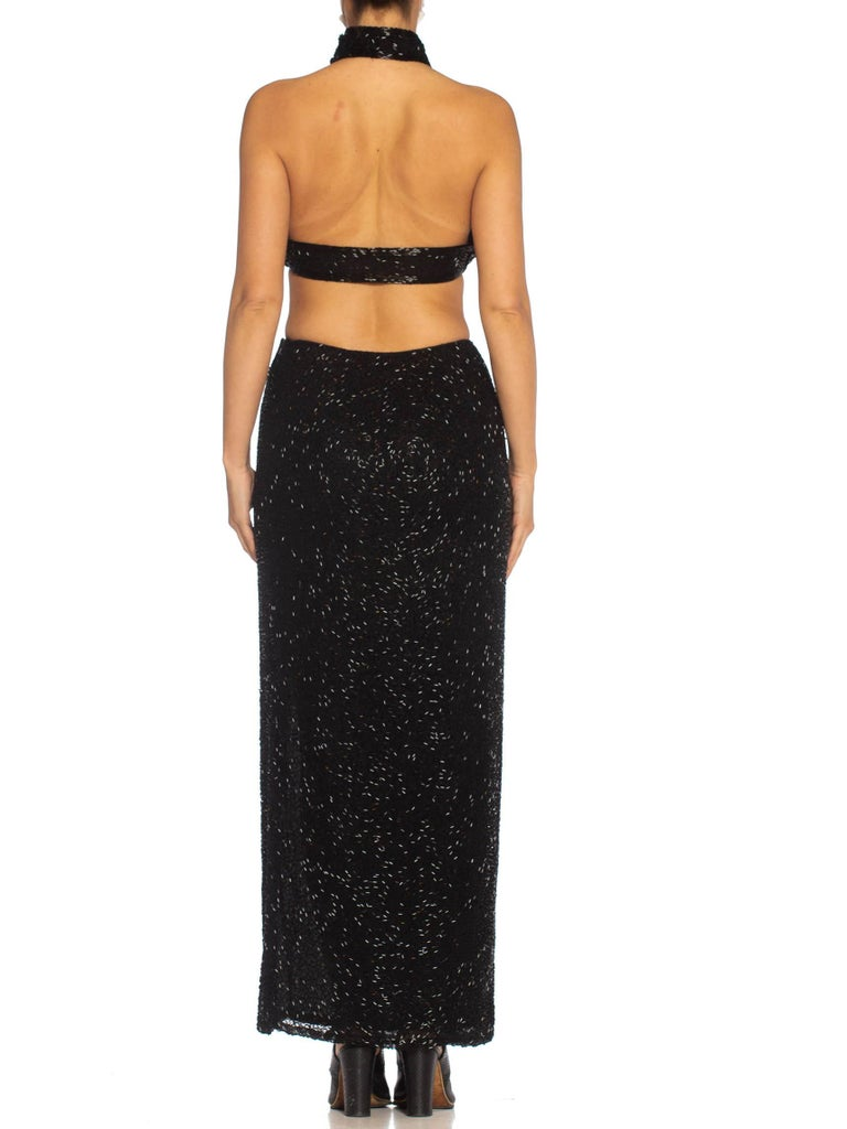 Black Silk Chiffon Beaded Halter Crop Top & Skirt Evening Ensemble