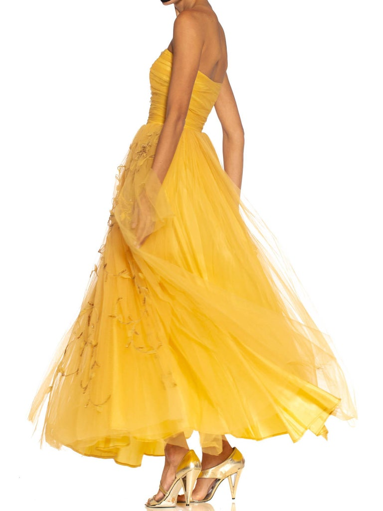 1950S Golden Yellow Rayon & Nylon Tulle Strapless Gown With Flowers