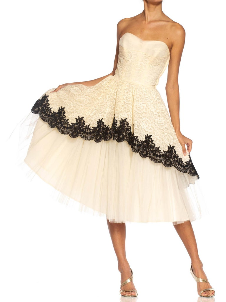 1950S Cream & Black Lace Tulle Strapless Cocktail Dress