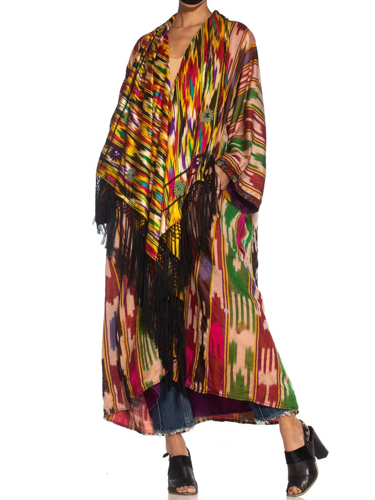 Morphew Collection Multicolor Silk Ikat Oversized Duster With Fringe