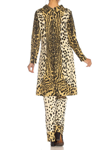 1960S Mr. Dino Leopard Print Polyester Knit Tunic & Pants Ensemble