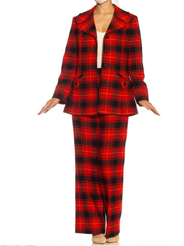 1960S Pendleton Red & Black Plaid Wool Fully Lined, Wide Lapel Pant Suit