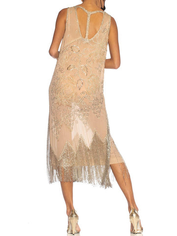 1920S Blush Pink Silk Chiffon Beaded With Pearls And Crystals Fringe Flapper Cocktail Dress