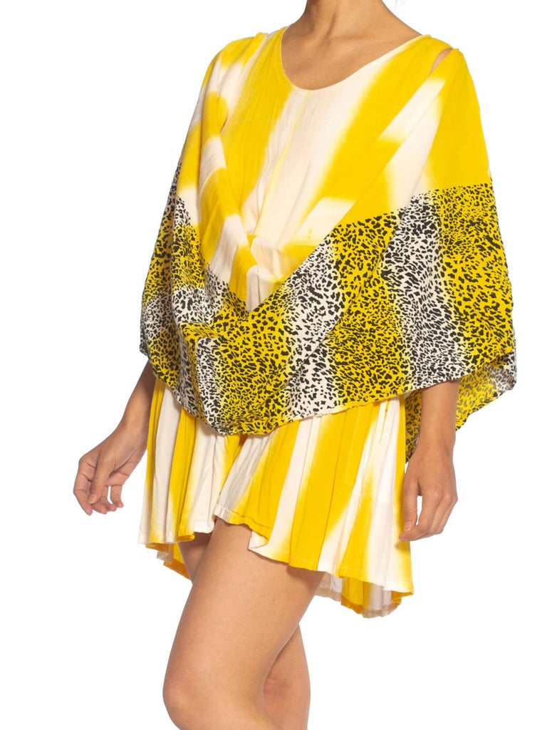 1980S Yellow & White  Striped Rayon With Leopard Print Border Sleeveless Dress