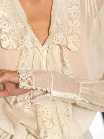 Edwardian Cream Organic Cotton Lace Trim Blouse