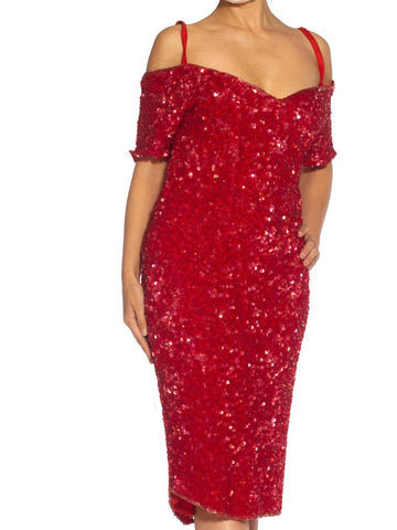 1980S Red Silk Sequin Encrusted Cocktail Dress